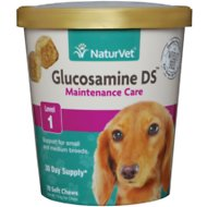 NaturVet Glucosamine DS Level 1 Soft Chews for Small & Medium Dogs, 70-count