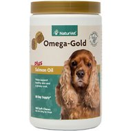 NaturVet Omega Gold Plus Salmon Oil Soft Chews for Dogs, 180 count