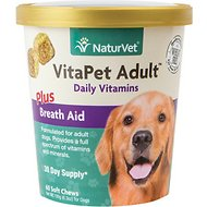 NaturVet Vita Pet Adult Plus Breath Aid Soft Chews for Dogs, 60-count