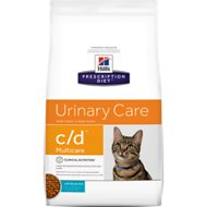 Hill's Prescription Diet c/d Multicare Urinary Care with Ocean Fish Dry Cat Food, 4-lb bag