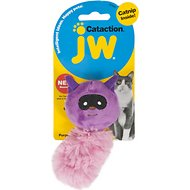 JW Pet Cataction Plush Racoon with Catnip Cat Toy, Purple