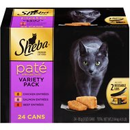 Sheba Premium Chicken, Salmon & Beef Pate Entrees Variety Pack Grain-Free Canned Cat Food, 3-oz, case of 24