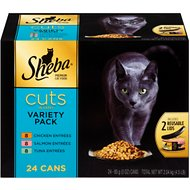Sheba Premium Chicken, Salmon & Tuna Cuts in Gravy Entrees Variety Pack Grain-Free Canned Cat Food, 3-oz, case of 24