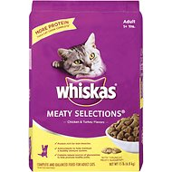 Whiskas Meaty Selections Chicken & Turkey Flavors Dry Cat Food, 15-lb bag