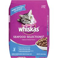 Whiskas Seafood Selections Salmon & Shrimp Flavors Dry Cat Food, 15-lb bag