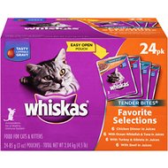 Whiskas Tender Bites Favorite Selections Cat Food Pouches, 3-oz, case of 24
