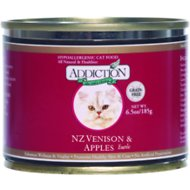 Addiction Grain-Free New Zealand Venison & Apples Entree Canned Cat Food, 6.5-oz, case of 24