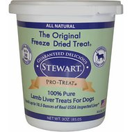 Stewart Pro-Treat Lamb Liver Freeze-Dried Raw Dog Treats, 3-oz tub