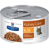 Hill's Prescription Diet k/d Kidney Care Chicken & Vegetable Stew Canned Cat Food, 2.9-oz, case of 24