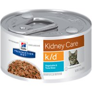 Hill's Prescription Diet k/d Kidney Care Vegetable, Tuna & Rice Stew Canned Cat Food, 2.9-oz, case of 24