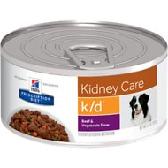 Hill's Prescription Diet k/d Kidney Care Beef & Vegetable Stew Canned Dog Food, 5.5-oz, case of 24