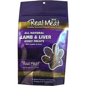 The Real Meat Company 95% Lamb & Liver Jerky Bitz Dog Treats, 4-oz bag