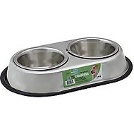 Van Ness Stainless Steel Non-Skid Double Pet Dish, 64-oz dish