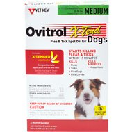 Ovitrol X-Tend Flea & Tick Spot On for Dogs, 3 treatments, 32-55 lbs