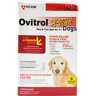 Ovitrol X-Tend Flea & Tick Spot On for Dogs, 3 treatments, 56-80 lbs
