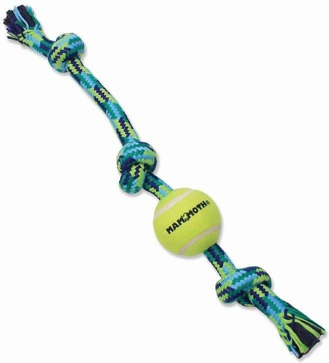 Mammoth Braided Tug With Tennis Ball For Dogs Color Varies Large