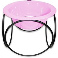 Platinum Pets Olympic Single Elevated Wide Rimmed Pet Bowl, Cotton Candy Pink, X-Small