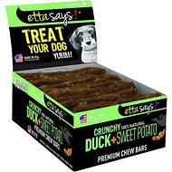 Etta Says! Crunchy Duck + Sweet Potato Chew Bars Dog Treats, 12 count