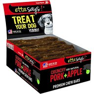 Etta Says! Crunchy Pork + Apple Chew Bars Dog Treats, 12 count