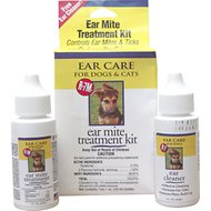 Miracle Care R-7M Ear Mite Treatment Kit with Bonus Ear Cleaner for Dogs & Cats