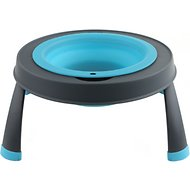 Popware for Pets Single Elevated Pet Bowl, Gray/Blue, Small