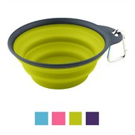 Popware for Pets Collapsible Travel Cup with Carabiner, Gray/Green, Small