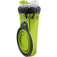 Popware for Pets H-DuO with Collapsible Companion Cup for Dogs & Cats, Green
