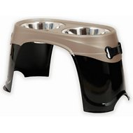 Petmate Easy Reach Diner Elevated Dog Bowls, Black Pearl/Tan, X-Large