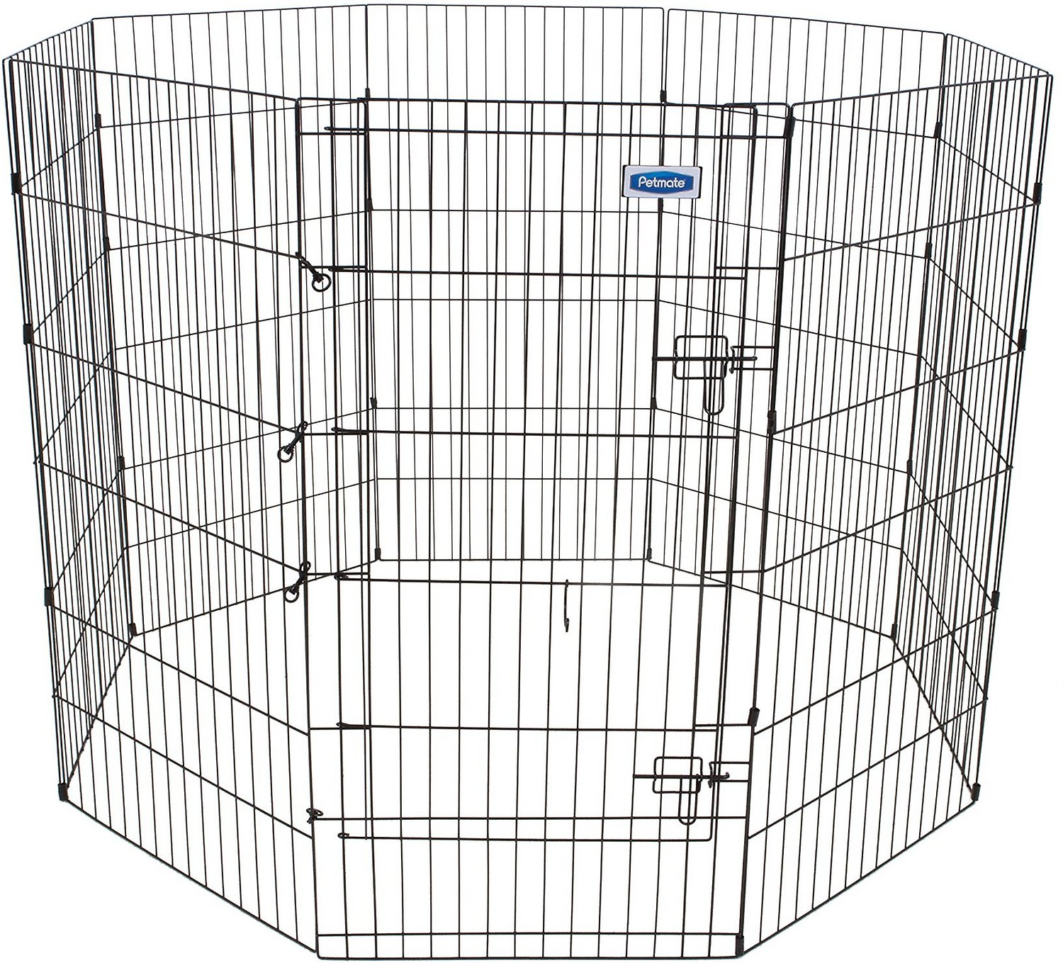 Petmate 8 Panel Wire Exercise Pen With Door Black Giant