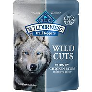 Blue Buffalo Wilderness Trail Toppers Wild Cuts Chunky Chicken Bites in Hearty Gravy Grain-Free Dog Food Topper, 3-oz, case of 24