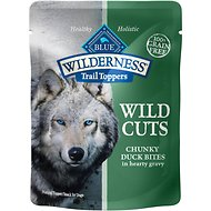 Blue Buffalo Wilderness Trail Toppers Wild Cuts Chunky Duck Bites in Hearty Gravy Grain-Free Dog Food Topper, 3-oz, case of 24