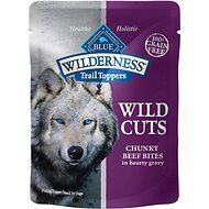 Blue Buffalo Wilderness Trail Toppers Wild Cuts Chunky Beef Bites in Hearty Gravy Grain-Free Dog Food Topper, 3-oz, case of 24