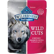 Blue Buffalo Wilderness Trail Toppers Wild Cuts Chunky Salmon Bites in Hearty Gravy Grain-Free Dog Food Topper, 3-oz, case of 24