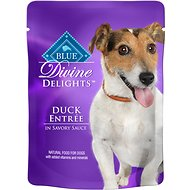 Blue Buffalo Divine Delights Duck Entree in Savory Sauce Wet Dog Food, 3-oz pouch, case of 24