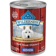 Blue Buffalo Wilderness Rocky Mountain Recipe Red Meat Dinner Senior Grain-Free Canned Dog Food, 12.5-oz, case of 12