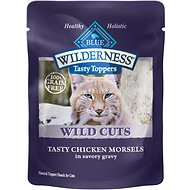 Blue Buffalo Wilderness Tasty Toppers Wild Cuts Tasty Chicken Morsels in Savory Gravy Grain-Free Cat Food Topper, 3-oz, case of 24