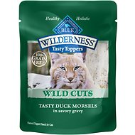 Blue Buffalo Wilderness Tasty Toppers Wild Cuts Tasty Duck Morsels in Savory Gravy Grain-Free Cat Food Topper, 3-oz, case of 24