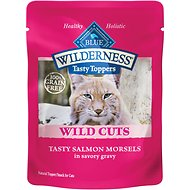 Blue Buffalo Wilderness Tasty Toppers Wild Cuts Tasty Salmon Morsels in Savory Gravy Grain-Free Cat Food Topper, 3-oz, case of 24