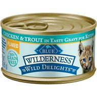 Blue Buffalo Wilderness Wild Delights Flaked Chicken & Trout in Tasty Gravy for Kittens Grain-Free Canned Cat Food, 3-oz, case of 24