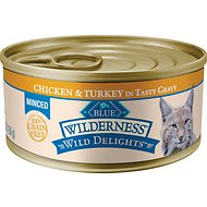Blue Buffalo Wilderness Wild Delights Minced Chicken & Turkey in Tasty Gravy Grain-Free Canned Cat Food, 5.5-oz, case of 24