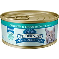 Blue Buffalo Wilderness Wild Delights Minced Chicken & Trout in Tasty Gravy Grain-Free Canned Cat Food, 5.5-oz, case of 24