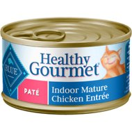 Blue Buffalo Healthy Gourmet Pate Chicken Entree Indoor Mature Canned Cat Food, 3-oz, case of 24