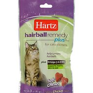 Hartz Hairball Remedy Plus Savory Chicken Flavor Soft Chews for Cats & Kittens, 3-oz bag