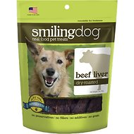 Herbsmith Smiling Dog Beef Liver Dry-Roasted Dog Treats, 3-oz bag