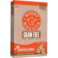 Buddy Biscuits Grain Free Oven Baked Teeny Treats with Homestyle Peanut Butter Dog Treats, 7-oz box