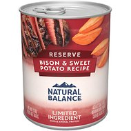 Natural Balance L.I.D. Limited Ingredient Diets Buffalo & Sweet Potatoes Formula Grain-Free Canned Dog Food, 13-oz, case of 12