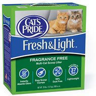 Cat's Pride Premium Fresh & Light Fragrance Free Multi-Cat Scoopable Cat Litter, 28-lb box