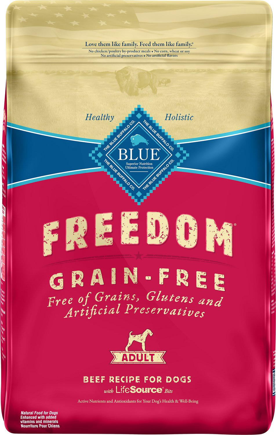 Blue Buffalo Freedom Adult Beef Recipe Dry Dog Food  Lb