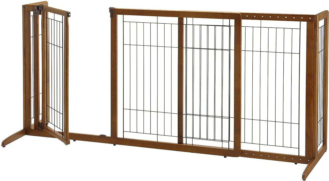 richell deluxe freestanding gate with door for dogs cats