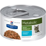 Hill's Prescription Diet Metabolic Weight Management Vegetable & Tuna Stew Canned Cat Food, 2.9-oz, case of 24